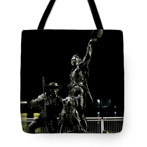 Lewis And Clark Arrive At Laclede's Landing Tote Bag by Kelly Awad