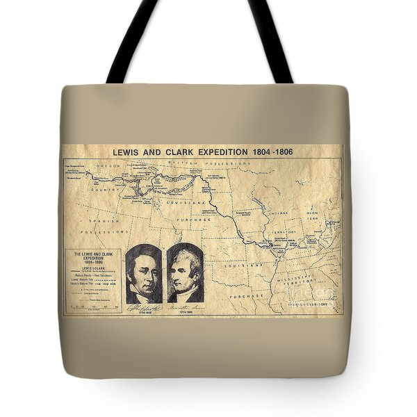 Lewis And Clark Expedition Map Tote Bag