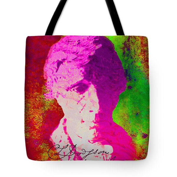 Tote Bag featuring the digital art Lewis Carroll by Asok Mukhopadhyay