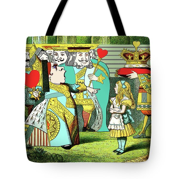 Lewis Carrolls Alice, Red Queen And Cards Tote Bag