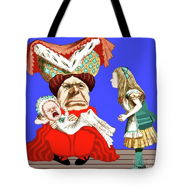 Lewis Carrolls Alice, Red Queen And Crying Infant Tote Bag