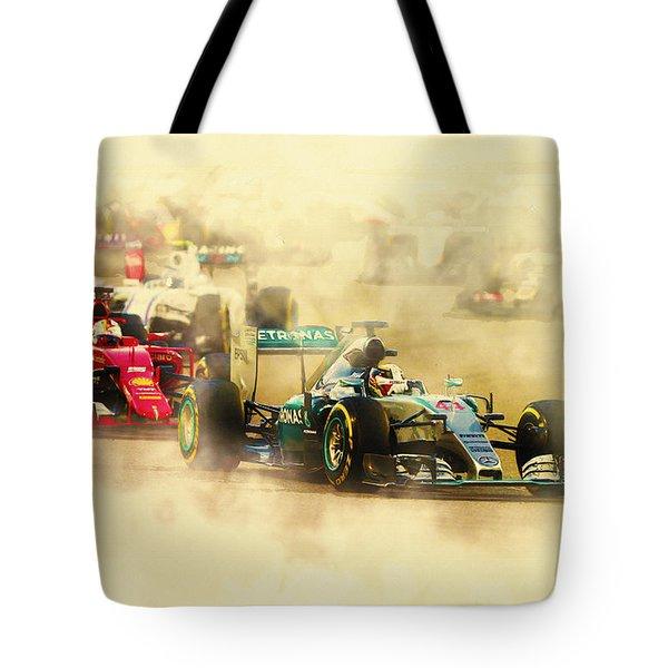 Lewis Hamilton Leads Again Tote Bag