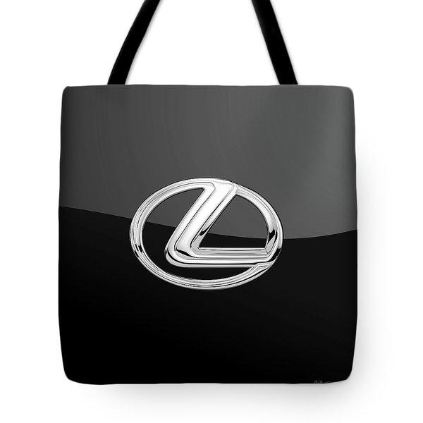 Lexus - 3d Badge On Black Tote Bag by Serge Averbukh