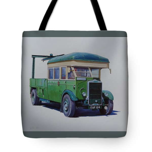 Tote Bag featuring the painting Leyland Southdown Wrecker. by Mike Jeffries