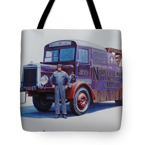 Tote Bag featuring the painting Leyland Wrecker 1930. by Mike  Jeffries