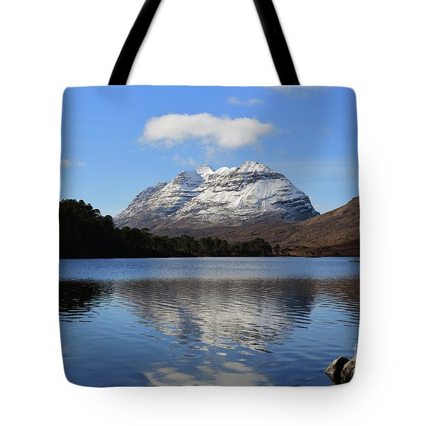Tote Bag featuring the photograph Liathach Reflecting In Loch Clair by Maria Gaellman