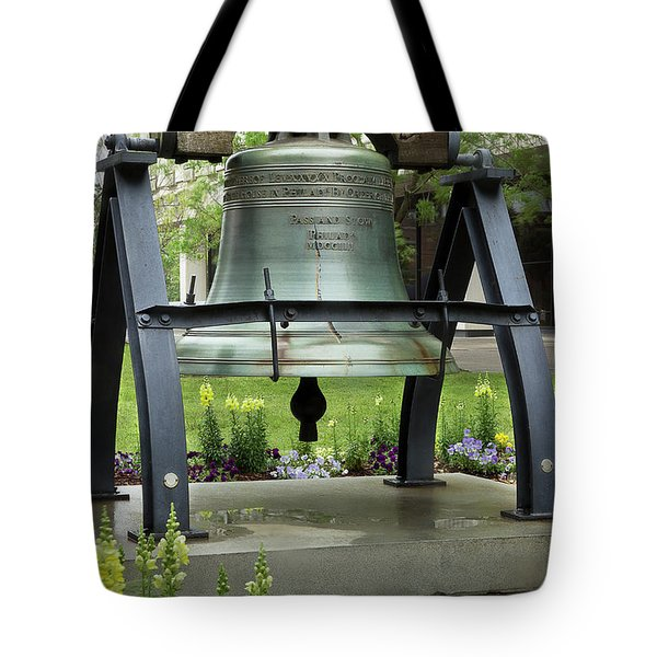 Tote Bag featuring the photograph Liberty Bell Replica by Mike Eingle