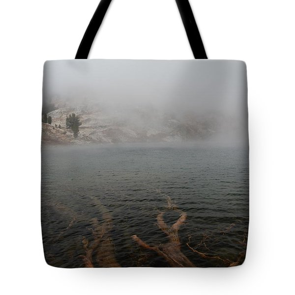 Liberty Lake In Fog Tote Bag by Jenessa Rahn