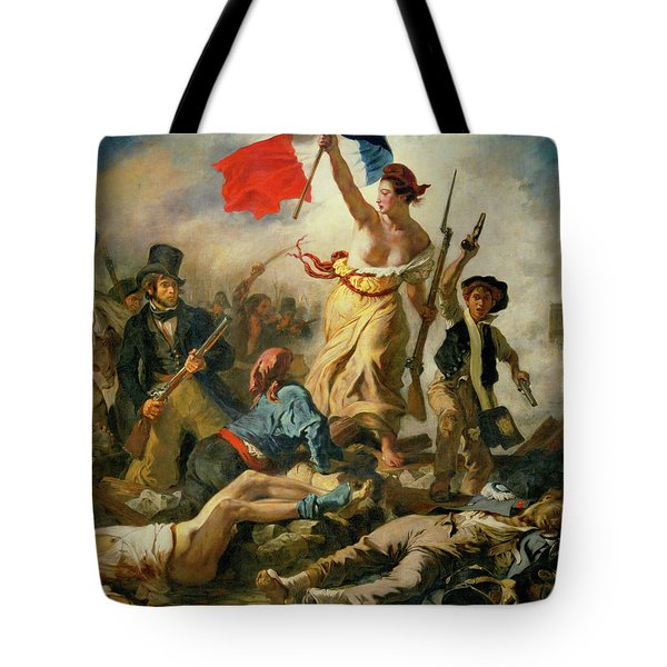 Tote Bag featuring the painting Liberty Leading The People By Eugene Delacroix 1830 by Movie Poster Prints