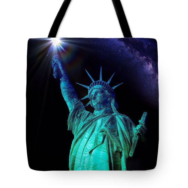 Tote Bag featuring the painting Liberty Sky by Mark Taylor