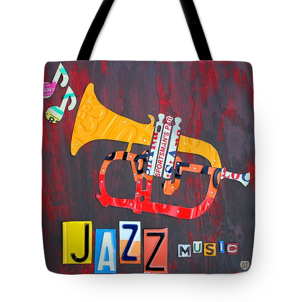 License Plate Art Jazz Series Number One Trumpet Tote Bag by Design Turnpike