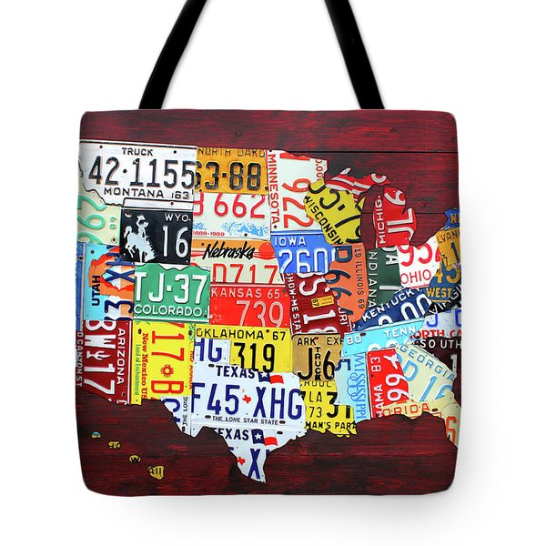 License Plate Map Of The United States Custom Edition 2017 Tote Bag