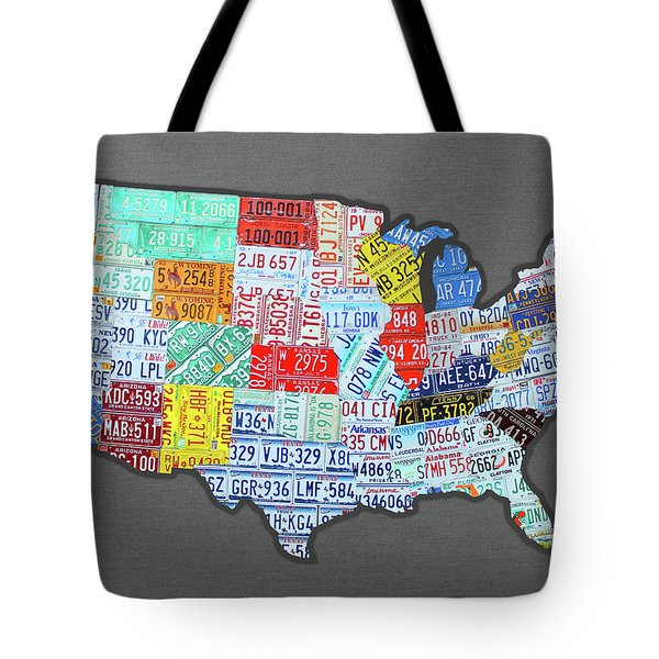 License Plate Map Of The United States Edition 2016 On Steel Background Tote Bag