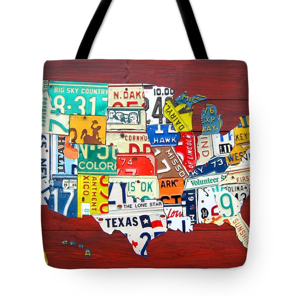 License Plate Map Of The United States - Midsize Tote Bag by Design Turnpike