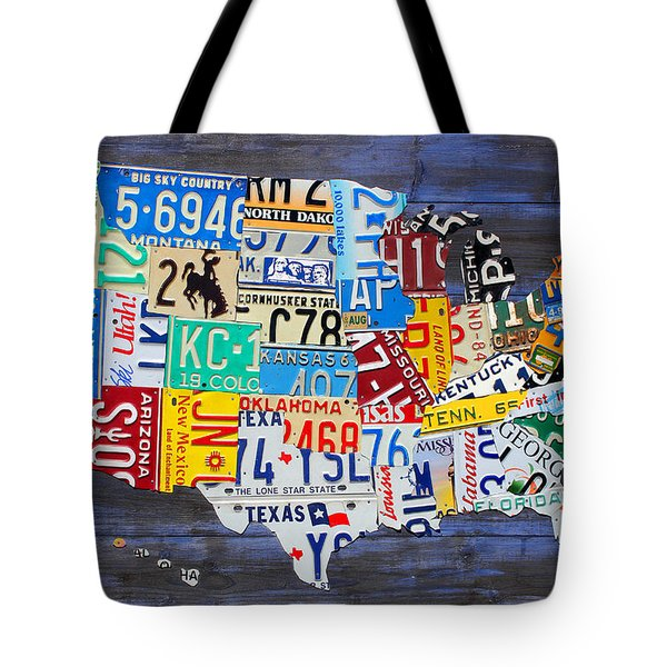 License Plate Map Of The Usa On Blue Wood Boards Tote Bag by Design Turnpike