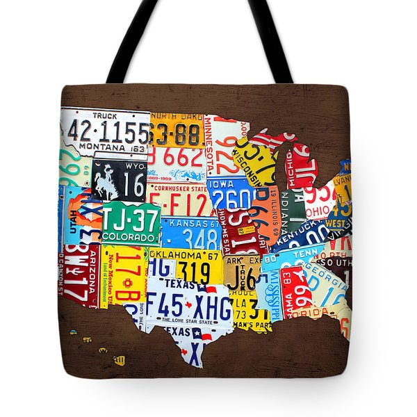 License Plate Map Of The Usa On Brown Wood Tote Bag