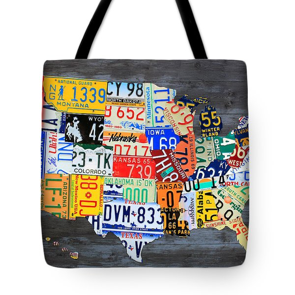 License Plate Map Of The Usa On Gray Distressed Wood Boards Tote Bag