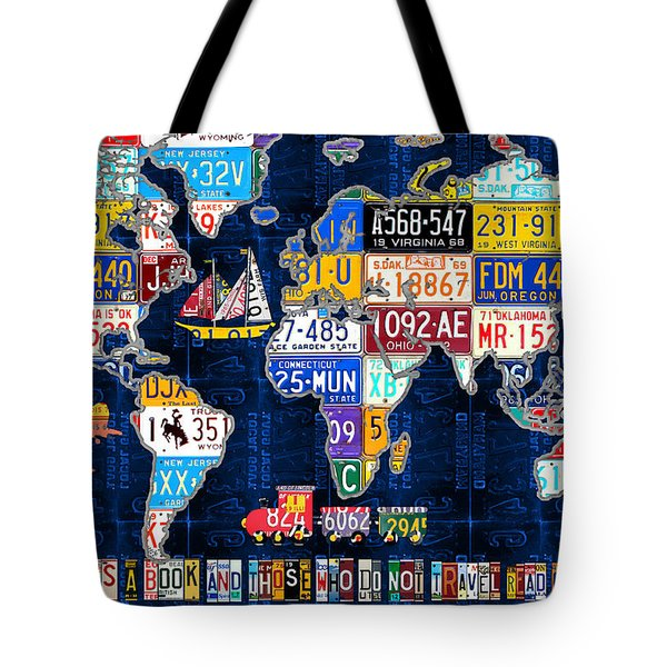 License Plate Map Of The World Travel Recycled Vintage Art With Augustine Quote Tote Bag