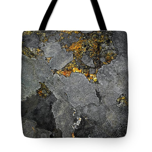 Lichen On Granite Rock Abstract Tote Bag
