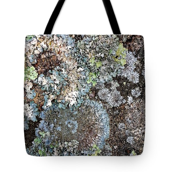 Tote Bag featuring the digital art Lichens by Julian Perry