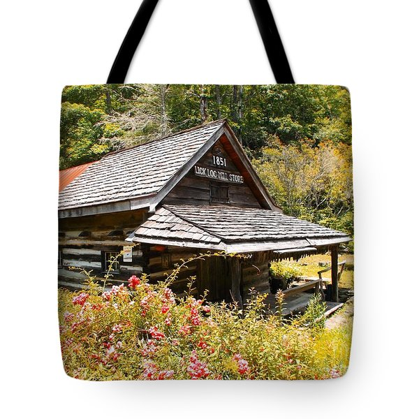 Tote Bag featuring the painting Lick Log Mill Vintage Store II by Donna Dixon