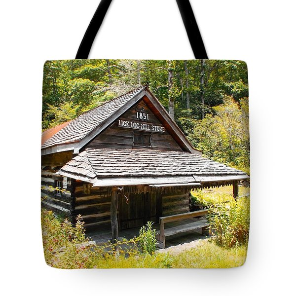 Tote Bag featuring the photograph Lick Log Vintage Store by Donna Dixon