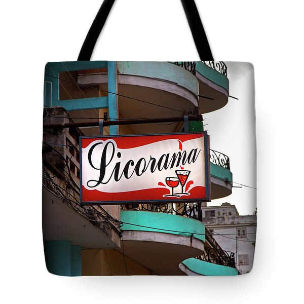 Tote Bag featuring the photograph Licorama Bar Liquor Store In Havana Cuba At Calle 6 by Charles Harden