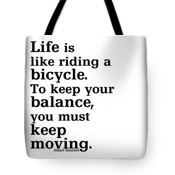 Life And A Bicycle - Einstein In Black Tote Bag