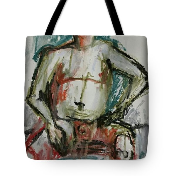 Tote Bag featuring the drawing Life Drawing 22nov2017 by Jim Vance