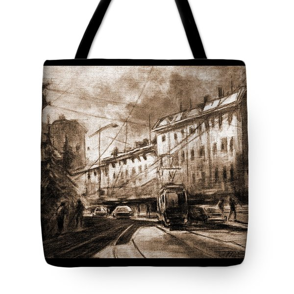 Tote Bag featuring the drawing Life In The City by Mikhail Savchenko