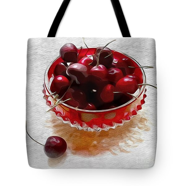 Tote Bag featuring the digital art Life Is A Bowl Of Cherries by Alexis Rotella