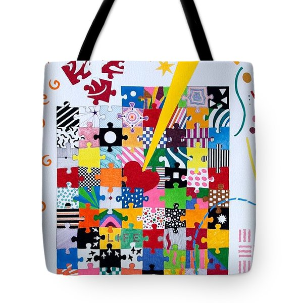Tote Bag featuring the painting Life Is A Puzzle by Thomas Gronowski