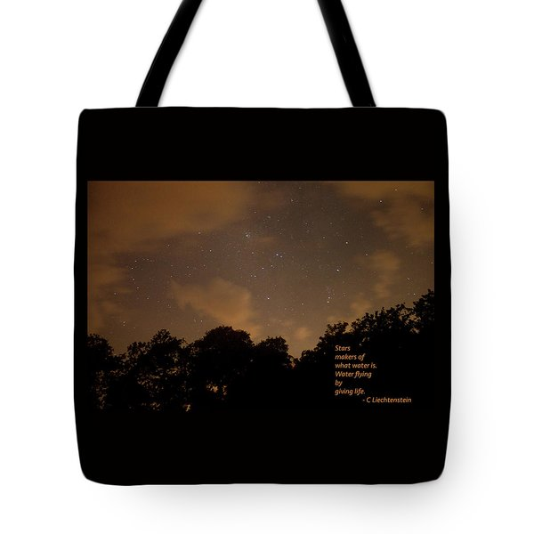 Life, Water And Stars Tote Bag
