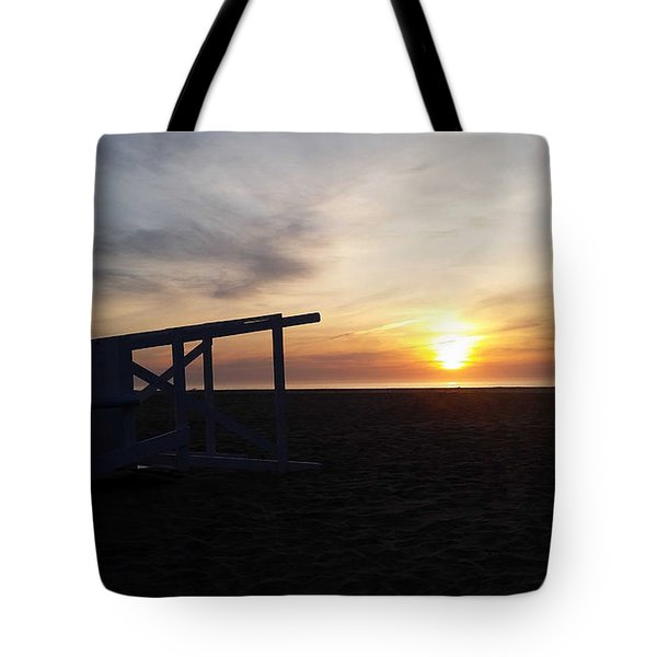 Lifeguard Stand And Sunrise Tote Bag