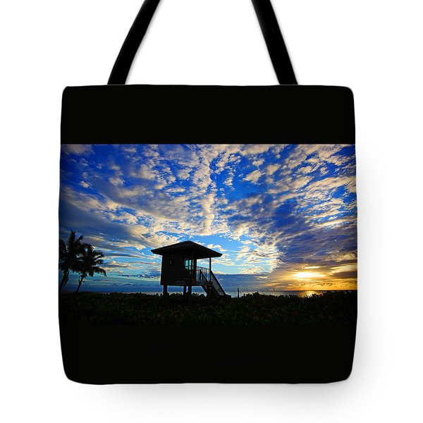 Lifeguard Station Sunrise Tote Bag