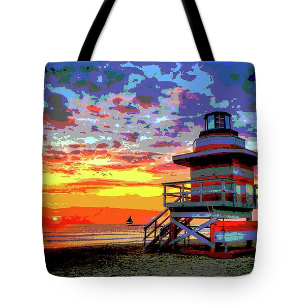Lifeguard Tower At Miami South Beach, Florida Tote Bag
