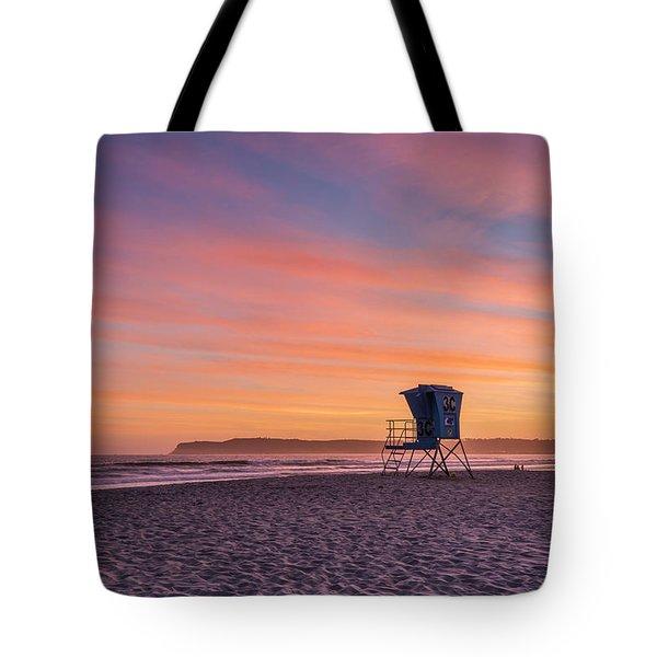 Lifeguard Tower Sunset Tote Bag