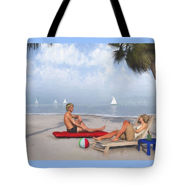 Tote Bag featuring the digital art Life's A Beach by Jayne Wilson