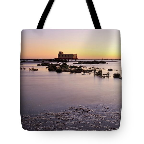 Lifesavers Building And Tides In Fuzeta Tote Bag by Angelo DeVal