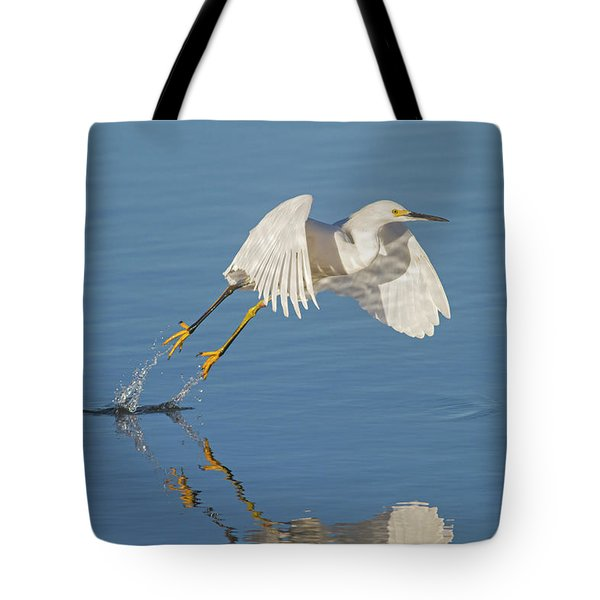Lift Off- Snowy Egret Tote Bag