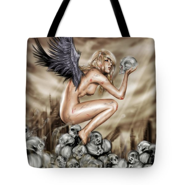 Tote Bag featuring the painting Lifting The Veil by Pete Tapang