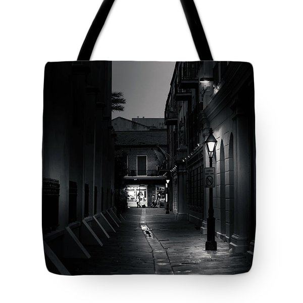 Light Along The Church In Black And White Tote Bag