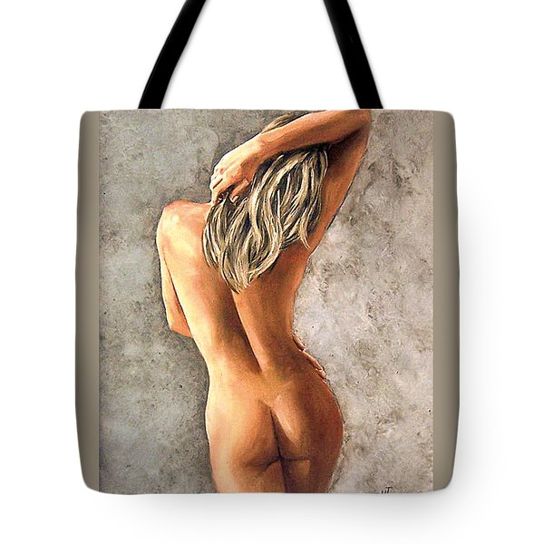 Tote Bag featuring the painting Light And Nudity by Natalia Tejera