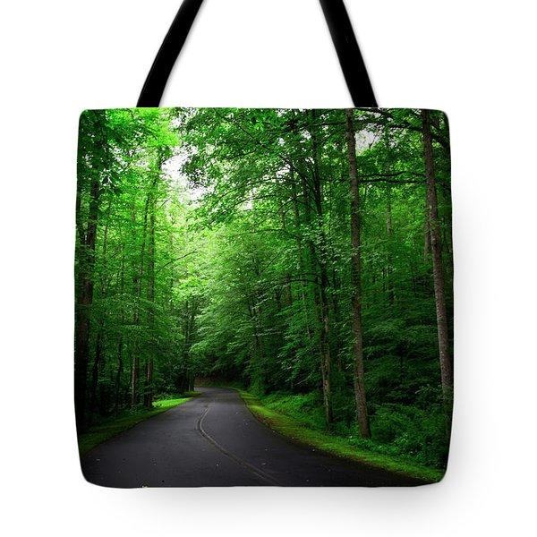 Light And Shadow On A Mountain Road Tote Bag