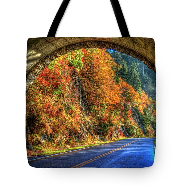 Tote Bag featuring the photograph Light At The End Of The Tunnel Blue Ridge Parkway Art by Reid Callaway