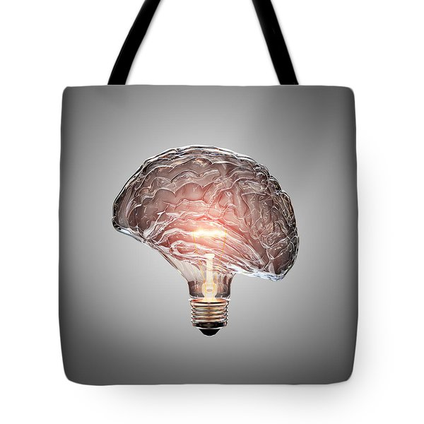 Light Bulb Brain Tote Bag