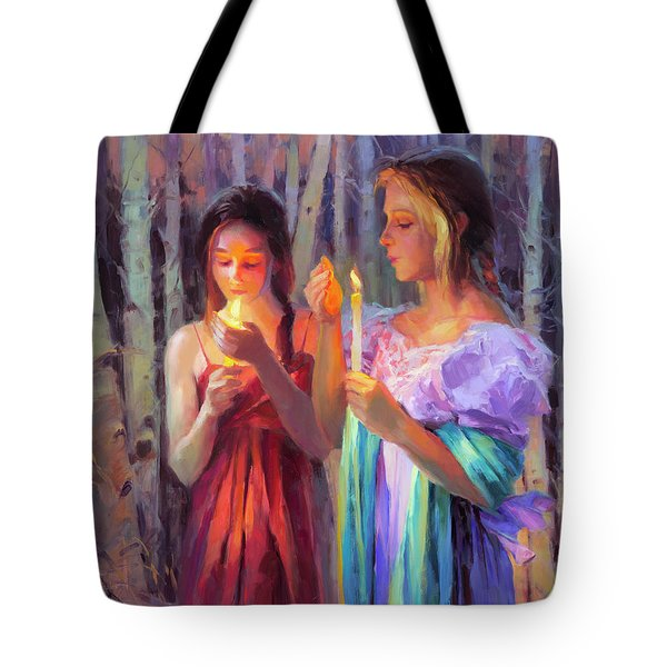 Tote Bag featuring the painting Light In The Forest by Steve Henderson