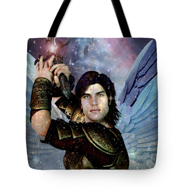 Tote Bag featuring the painting Light Of Saint Michael by Suzanne Silvir