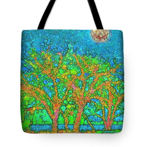 Tote Bag featuring the digital art Light Of The Radiant Sun - Trees In Boulder County Colorado by Joel Bruce Wallach