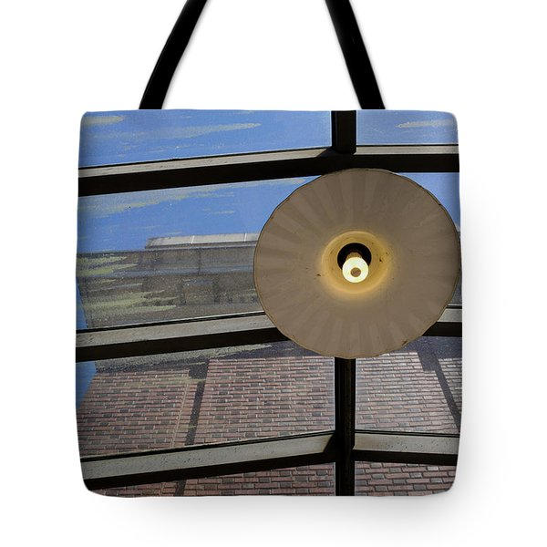 Light On A Dirty Glass Ceiling In Tacoma Washington Tote Bag